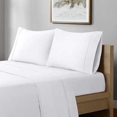 Crosby 400 Thread Count Solid Cotton Sheet Set Size: Full, Color: White