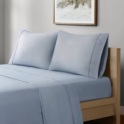 Crosby 400 Thread Count Solid Cotton Sheet Set Size: Full, Color: Blue