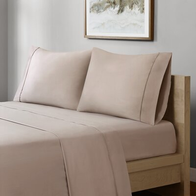Crosby 400 Thread Count Solid Cotton Sheet Set Size: King, Color: Taupe