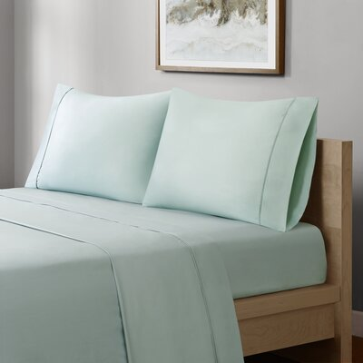 Crosby 400 Thread Count Solid Cotton Sheet Set Size: Queen, Color: Seafoam