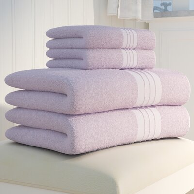4 Piece Luxury Turkish Towel Set Color: Lilac