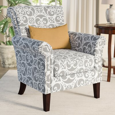 Olson Accent Club Chair with Arms Upholstered Silver Nail Head Upholstery: Gray