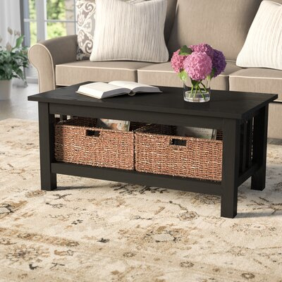Stillman Wood Storage Coffee Table Finish: Black