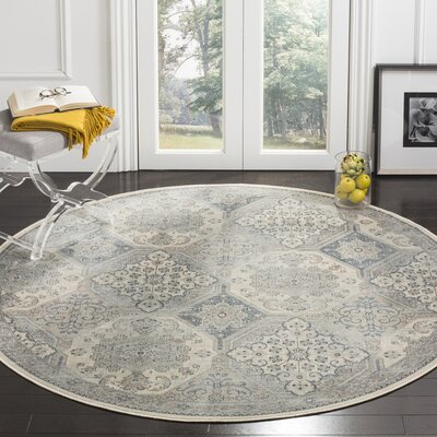 Pitcairn Cream/Blue Area Rug Rug Size: Round 6