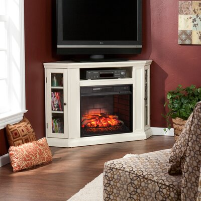 Dunminning Corner TV Stand with Fireplace Color: Ivory