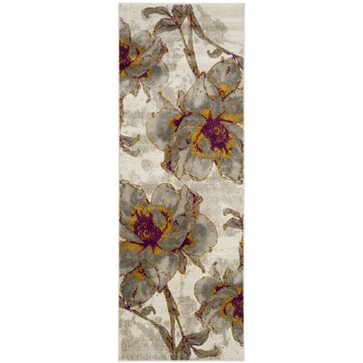 Daphne Ivory/Gray Area Rug Rug Size: Runner 24 x 9