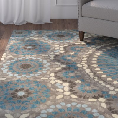 Bergland Hand Tufted Brown/Blue/Beige Area Rug Rug Size: Rectangle 36 x 56