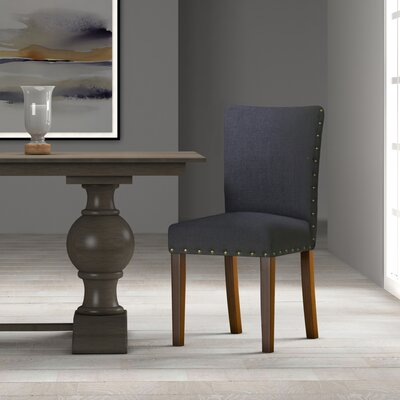Strongylos Classic Parsons Chair Color: Mid-tone Walnut, Upholstery: Deep Navy