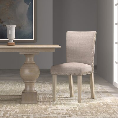 Strongylos Classic Parsons Chair Finish: White Washed, Upholstery: Tan