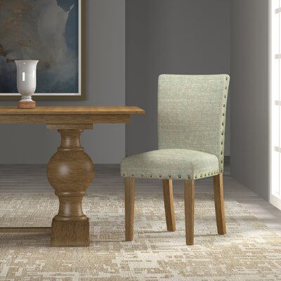 Strongylos Classic Parsons Chair Color: Honey Oak, Upholstery: Vapor Teal