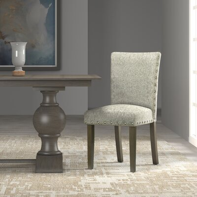 Strongylos Classic Parsons Chair Color: Dark Walnut, Upholstery: Sterling Gray