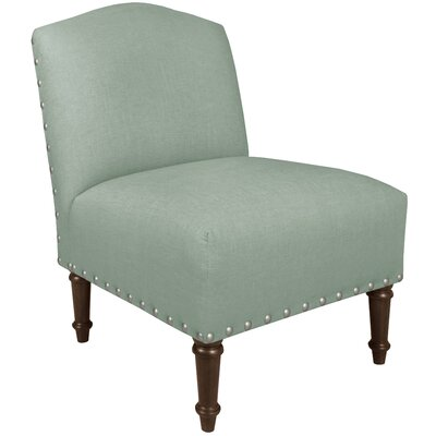 Springdale Camel Back Slipper Chair Upholstery: Linen Swedish Blue, Nailhead Detail: Pewter Nailhead