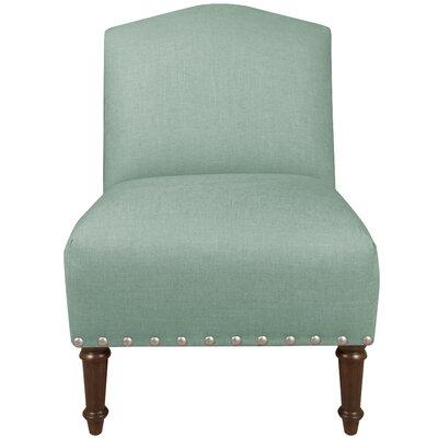 Springdale Camel Back Slipper Chair Upholstery: Linen Swedish Blue, Nailhead Detail: Pewter Nailhead