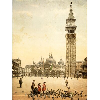 'Piazza San Marco Venice Photochrom' Graphic Art Print on Canvas