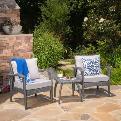 Springboro 3 Piece Chat Set with Cushions Finish: Grey