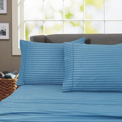 Sheldrake 4 Piece 600 Thread Count 100% Cotton Sheet Set Color: Teal