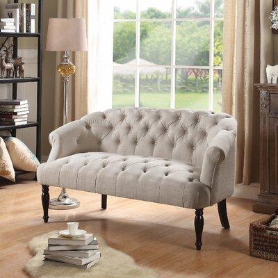 Garner Tufted Chesterfield Settee Upholstery: Beige
