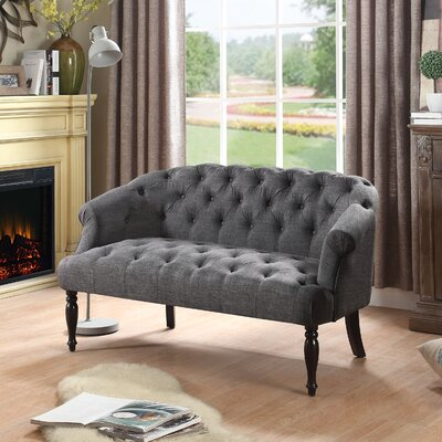 Garner Tufted Chesterfield Settee Upholstery: Gray