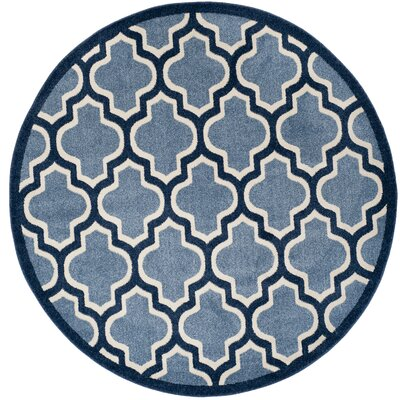 Amherst Light Blue/Navy Indoor/Outdoor Area Rug Rug Size: Round 5