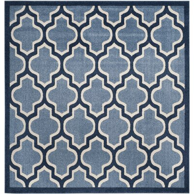 Amherst Light Blue/Navy Indoor/Outdoor Area Rug Rug Size: Square 5