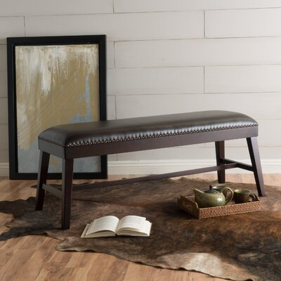Erma Ottoman Upholstery: Brown Leather