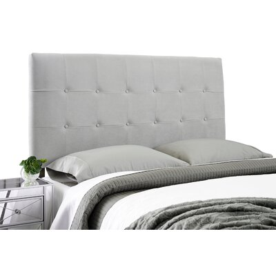 Dublin Contemporary Adjustable Wood Frame Upholstered Panel Headboard Size: Queen, Upholstery: Gray