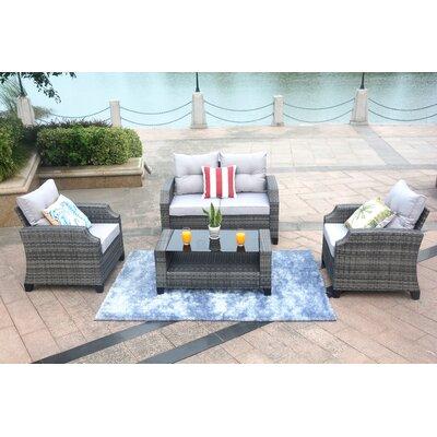 Mancha 4 Piece Rattan Sofa Set with Cushions Frame Finish: Gray