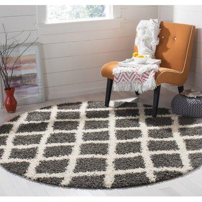 Laurelville Shag Dark Gray/Ivory Area Rug Rug Size: Round 6