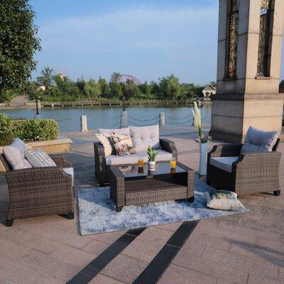 Mancha 4 Piece Rattan Sofa Set with Cushions Frame Finish: Brown