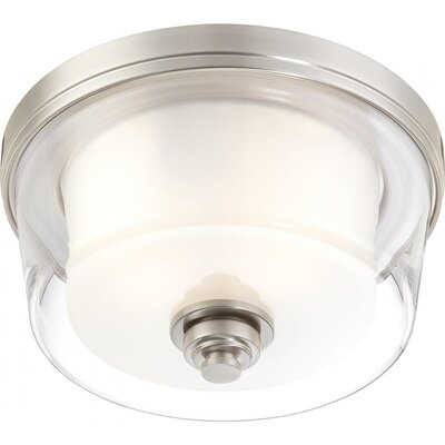 Bevilacqua 2-Light Flush Mount Finish / Glass Finish: Brushed Nickel/ Clear Outer with Frosted Inner