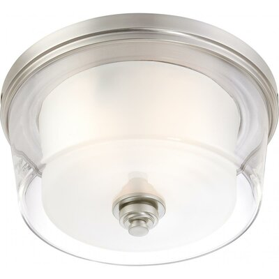 Bevilacqua 3-Light Flush Mount Finish / Glass Color: Brushed Nickel/ Clear Outer with Frosted Inner