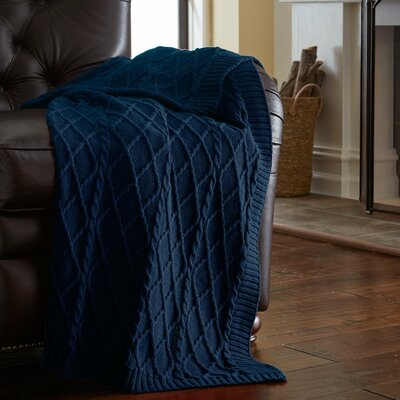 Greenburgh Cable Diamond Knit Throw Color: Denim Blue