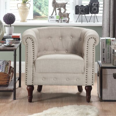 Argenziano Chesterfield Chair Upholstery : Beige