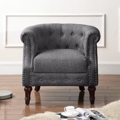 Argenziano Chesterfield Chair Upholstery : Gray