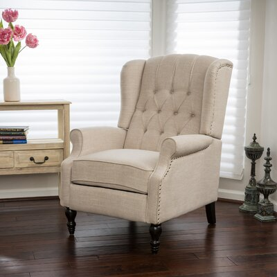 Henley Manual Recliner Upholstery: Light Beige Fabric