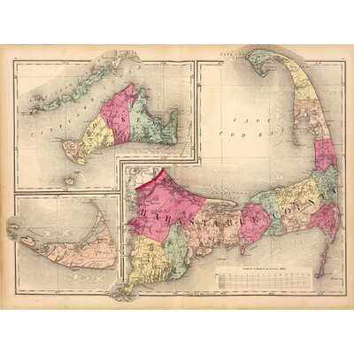'Cape Cod Map' Graphic Art Print on Canvas
