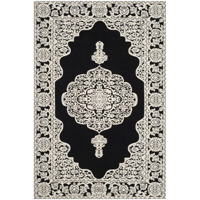 Jamison Hand-Woven Black/Ivory Area Rug Rug Size: Rectangle 4' x 6'