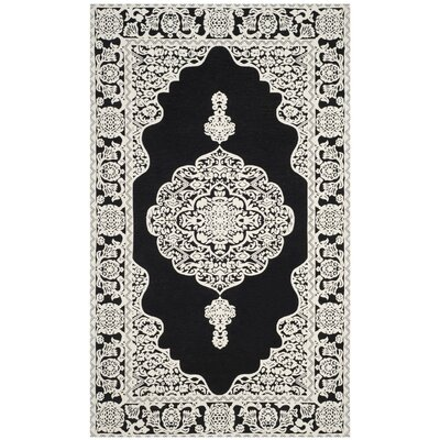 Jamison Hand-Woven Black/Ivory Area Rug Rug Size: Rectangle 5 x 8