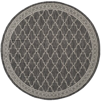 Rockbridge Black/Beige Indoor/Outdoor Area Rug Rug Size: Round 67