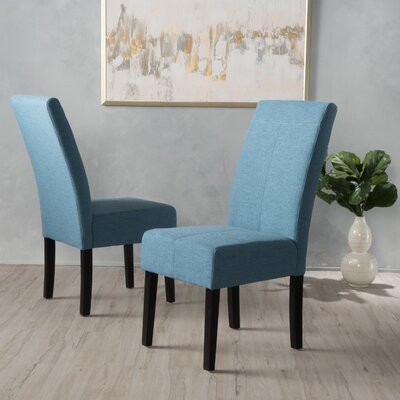 Back East Side Upholstered Dining Chair Upholstery: Blue