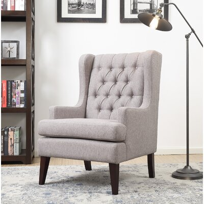Argenta Button Tufted Wingback Chair Upholstery: Gray