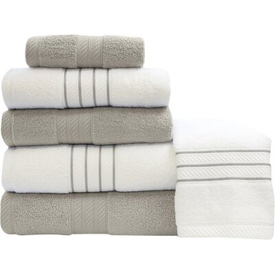 Shelbyville Stripe and Contrast 6 Piece Towel Set Color: Silver/White
