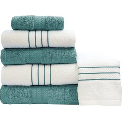 Shelbyville Stripe and Contrast 6 Piece Towel Set Color: Teal/White