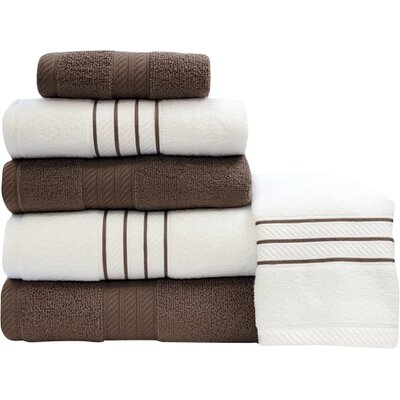 Shelbyville Stripe and Contrast 6 Piece Towel Set Color: Mocha/White