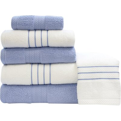 Shelbyville Stripe and Contrast 6 Piece Towel Set Color: Serenity Blue/White