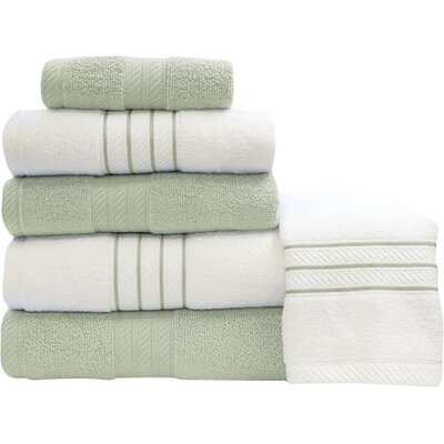 Shelbyville Stripe and Contrast 6 Piece Towel Set Color: Soft Jade/White