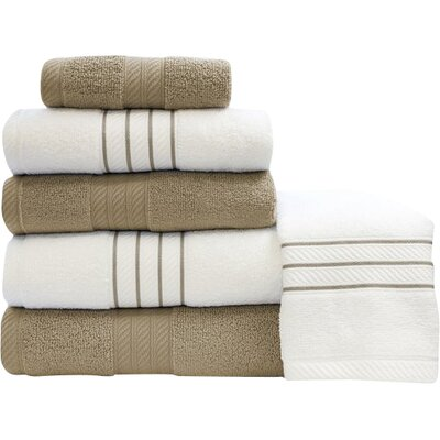 Shelbyville Stripe and Contrast 6 Piece Towel Set Color: Taupe/White