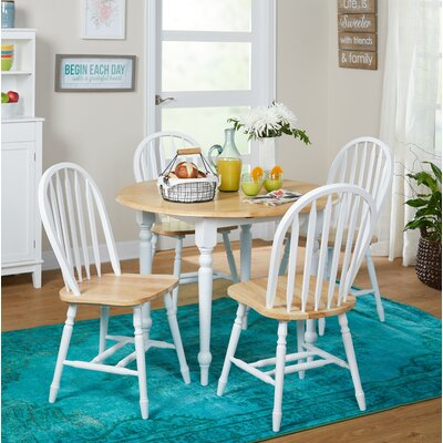 Cecelia 5 Piece Dining Set Finish: White / Natural