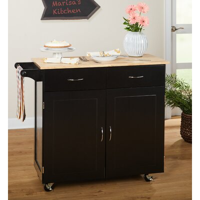 Sammons Kitchen Island with Wood Top Base Finish: Black