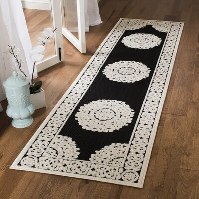 Prompton Black/Cream Area Rug Rug Size: Runner 23 x 8